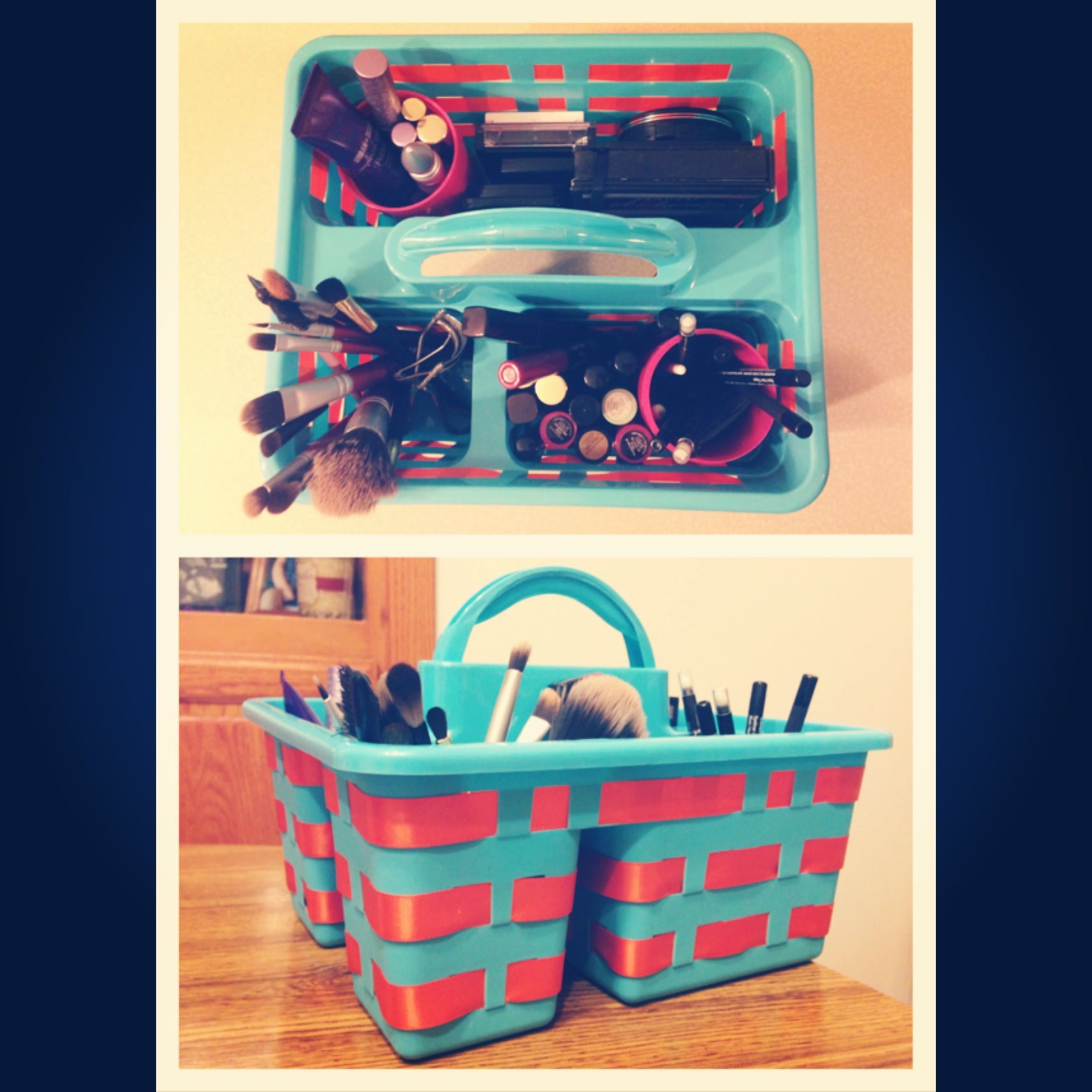 Dollar Tree bath caddy turned into makeup organizer. I used a ribbon ...