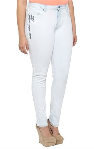 Plus Size Reign Bleach White Skinny Jean with Tribal Embroidery