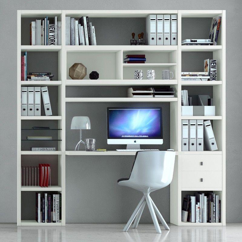 Details zu Büroregal Schreibtisch Lack weiß Arbeitstisch PC ...