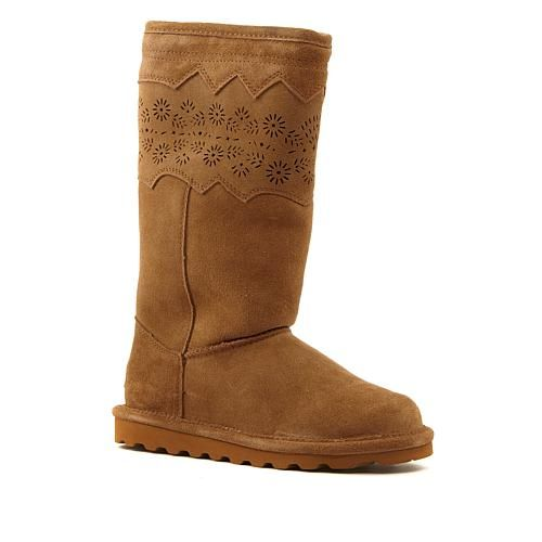 BEARPAW® Shana Suede Perforated Boot with NeverWet™ - Hickory