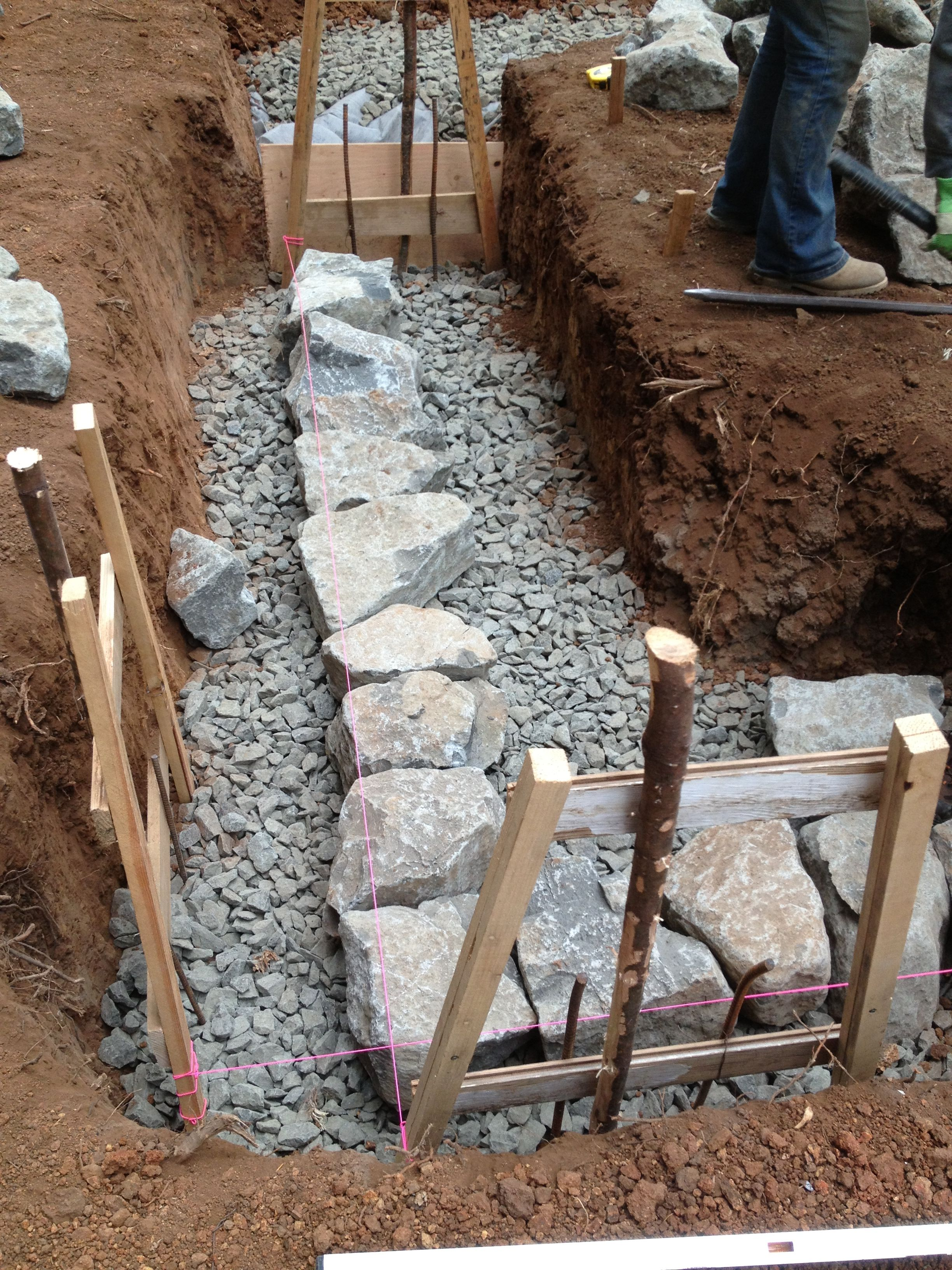 Building a stone foundation this cob house orcas house for Cheapest house foundation