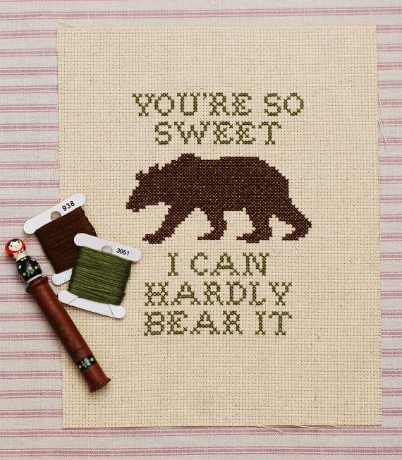 hardly bear cross stitch pattern by penelopewaitsshop