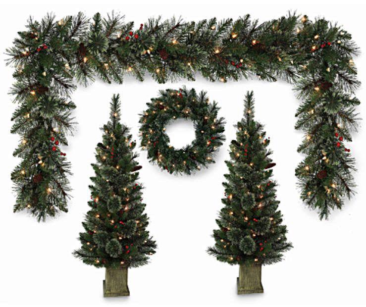 Winter Wonder Lane Tree, Wreath & Garland Light-Up 4-Piece Value Set | Light garland, Porch ...