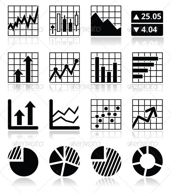 Stock Market Analysis Chart And Graph Icons Set Stock Market