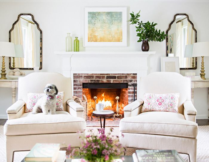 Another Chair In Front Of Fireplace I Would Want The Chairs To Be Smaller Tho Transitional Living Rooms White Fireplace Home Living Room