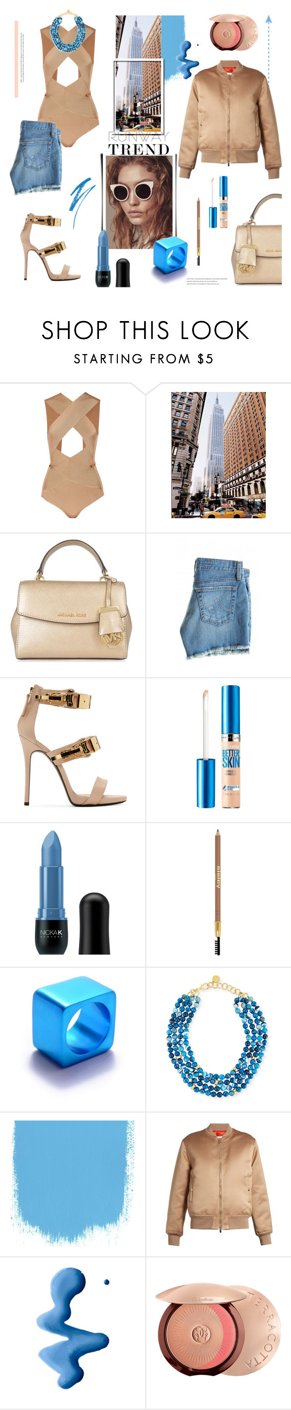 """""""Runway Trend"""" by tinkabella222 ❤ liked on Polyvore featuring Balmain, MICHAEL Michael Kors, AG Adriano Goldschmied, Giuseppe Zanotti, Maybelline, Nicka K, Sisley, Filip Vanas, Nest and Givenchy"""