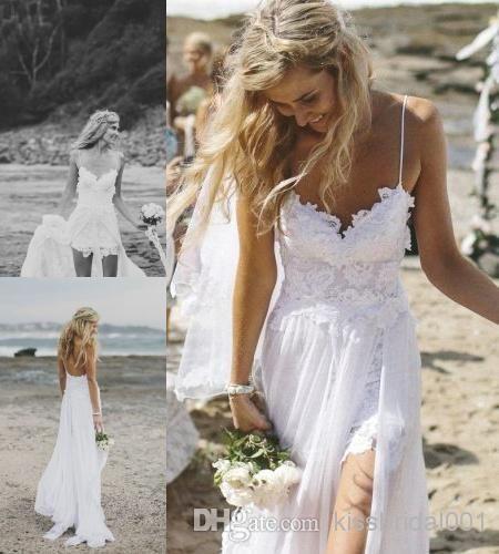 2cd83e8dba 2014 Galia Lahav White Beach Wedding Dresses Lace Applique Split A Line  Spaghetti Straps Chiffon Wedding Dress US  152.33