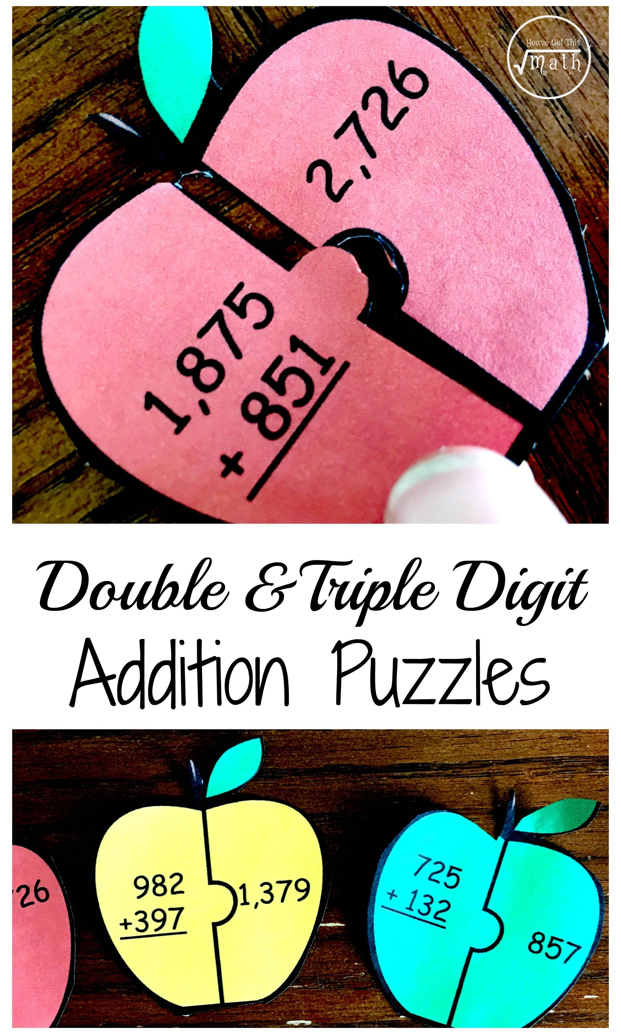 Free Triple And Double Digit Addition Puzzles