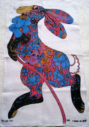 Hare tea towel for Oxfam