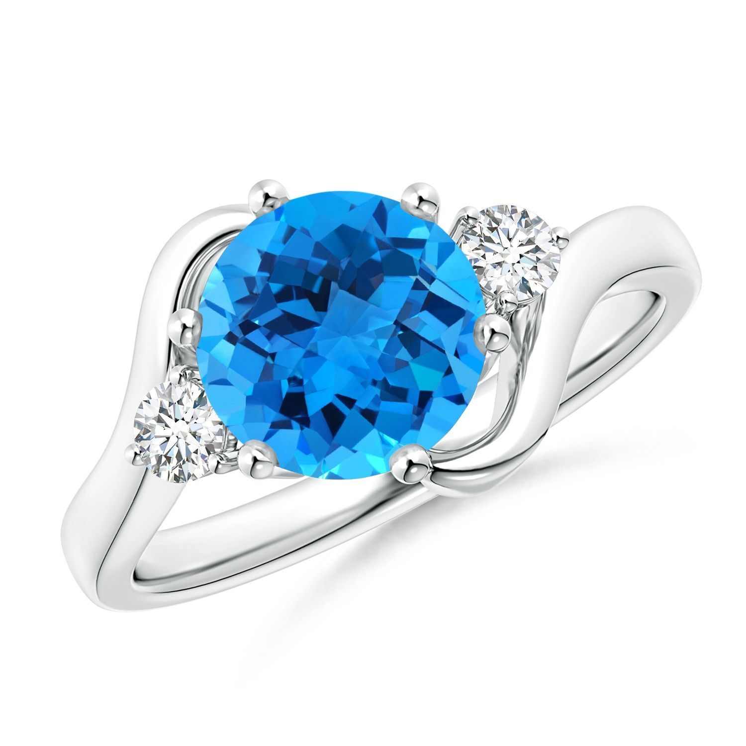 Angara Oval Swiss Blue Topaz Diamond Halo Engagement Ring in White Gold sKLy3yL