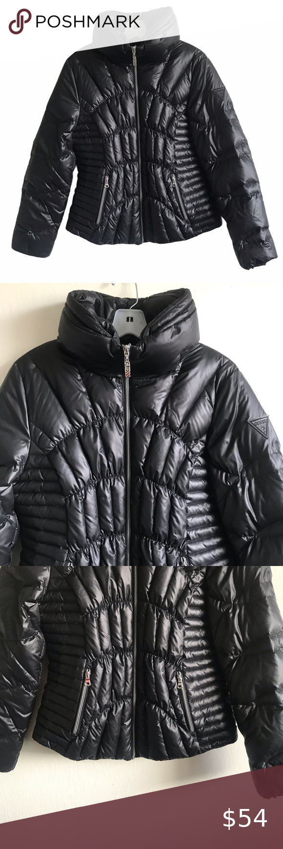 Guess Los Angeles Quilted Black Puffer Jacket Gently Used Please See Pics To Look At Neck Line Size M 20 A Black Puffer Jacket Black Puffer Clothes Design [ 1740 x 580 Pixel ]