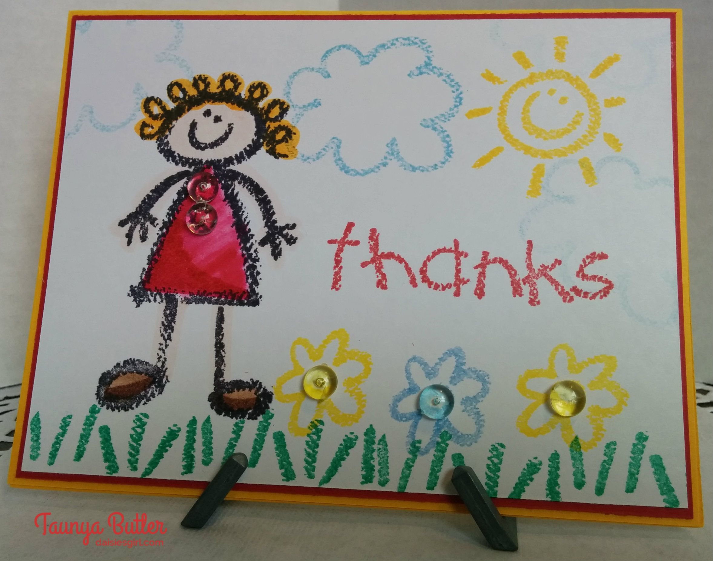 A Teacher Thank You Card Made Using Crayon Kids Stamp Set From