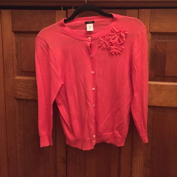 JCrew Embellished Cardigan 3/4 sleeves. 85% cotton 15% cashmere.  Coral color. Great condition. No pilling or stains   Smoke free home. NO TRADES OR PAYPAL.  LOWEST PRICE  NO FURTHER REDUCTIONS J. Crew Sweaters Cardigans
