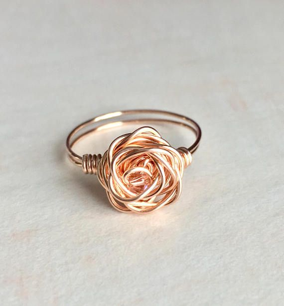 made to order Rose Quartz ring,wire wrapped with Rose gold wire