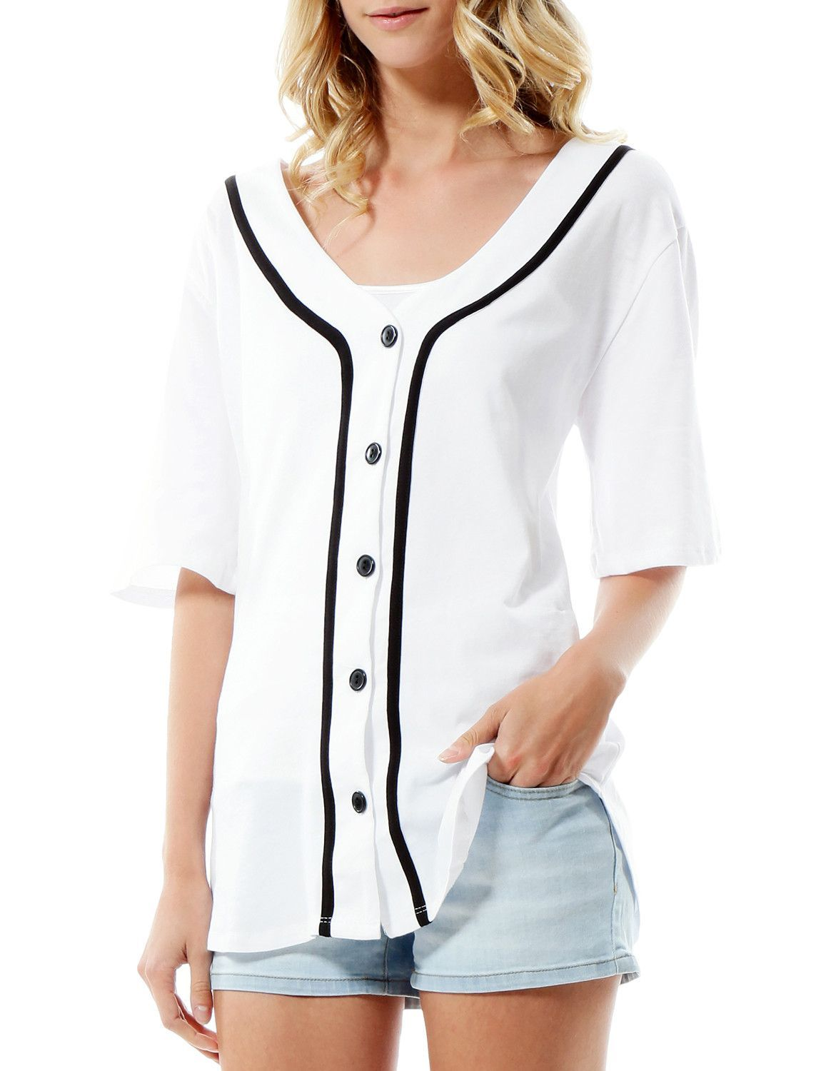2f55711e4 Ladies, no need to borrow your man's jersey to the games anymore. This oversized  button down short sleeve baseball tunic shirt is both comfortable and cute.