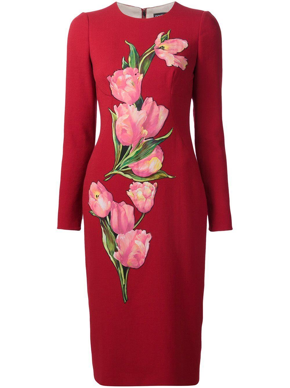 Dolce Gabbana Tulip Print Dress Designer Cocktail Dress African Print Fashion Dresses Red Long Sleeve Dress