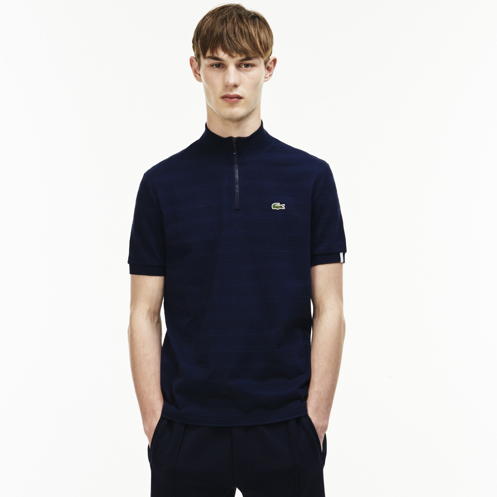 717a243a LACOSTE Men's LIVE Slim Fit Zip Striped Honeycomb Jersey Polo - NAVY ...
