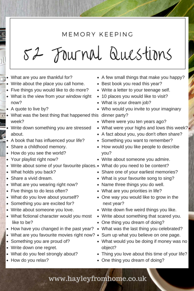 Journal Questions In The Bullet Journal - Hayley from Home