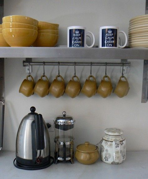 Use A Small Towel Bar And S Hooks For Space Saving Under Counter Shelf Storage Of Coffee Mugs Home Coffee Stations Diy Kitchen Kitchen Design