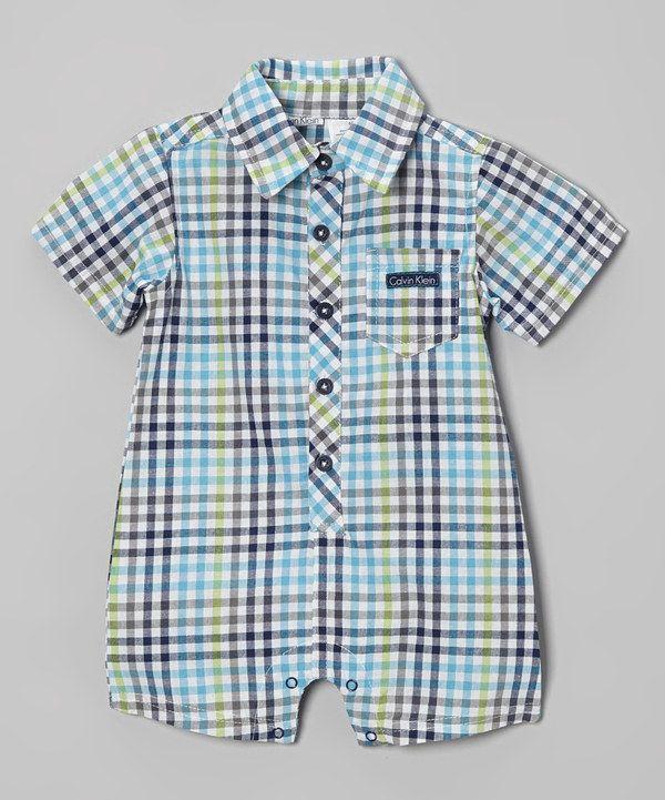 Look what I found on #zulily! Calvin Klein Underwear Blue & Green Plaid Romper by Calvin Klein Underwear #zulilyfinds