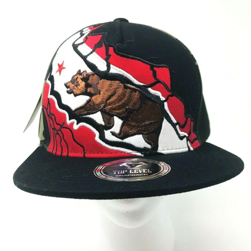 California Republic Red Bear Gray /& Black Flat Bill Flat Bill Snapback Snap Back