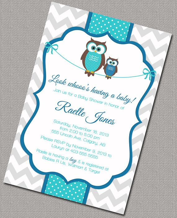 Chevron owl baby shower invitations for boys printable baby boys printable boy baby shower invitation with mommy and baby owls chevron shower invitations in blue filmwisefo Image collections