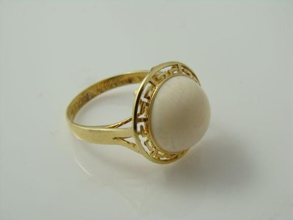 Omg 14k Gold Vintage Elephant Ivory Ring 10mm Round In
