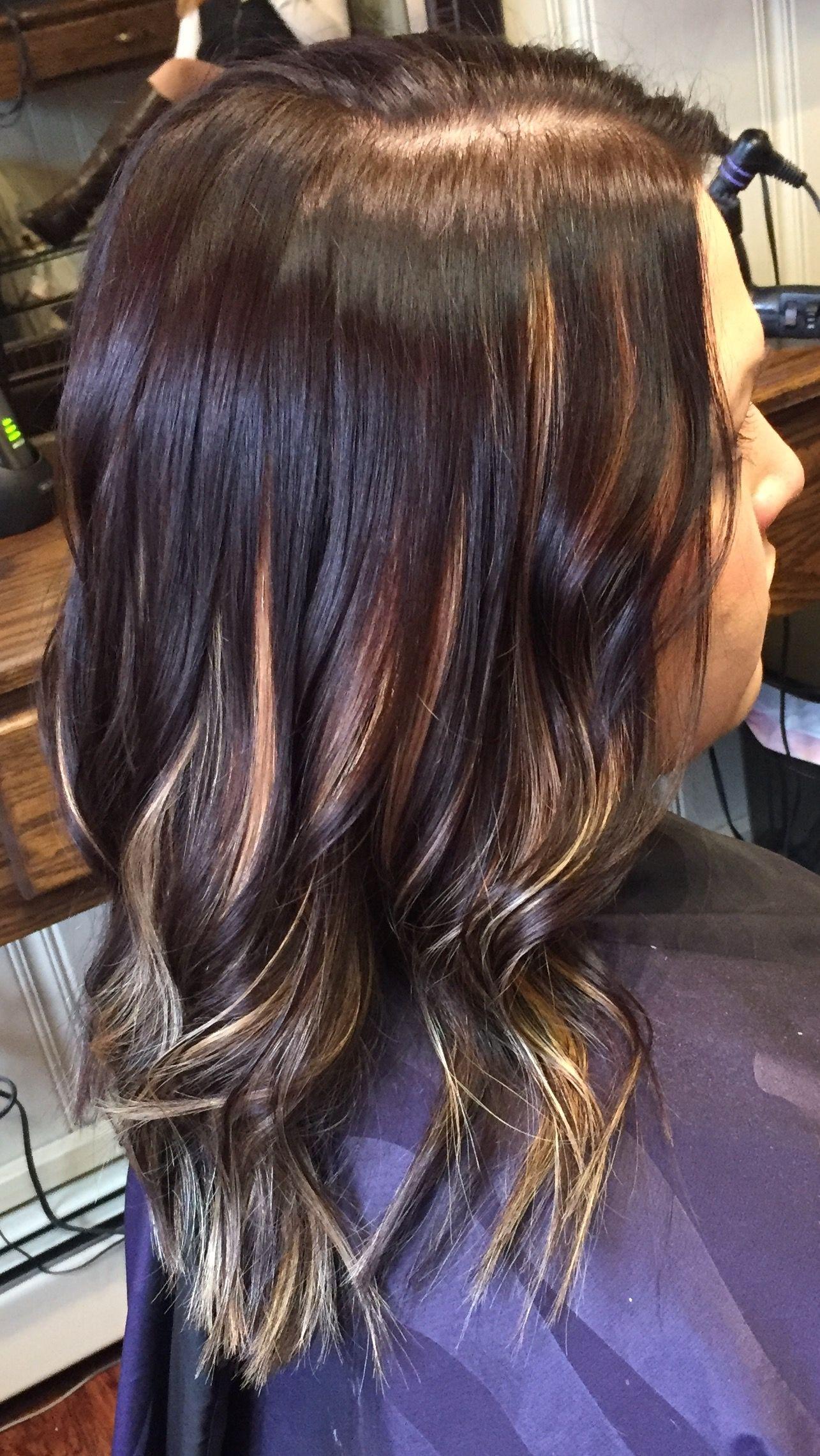 Dark Brown Hair Color With Peekaboo Light Blonde Highlights