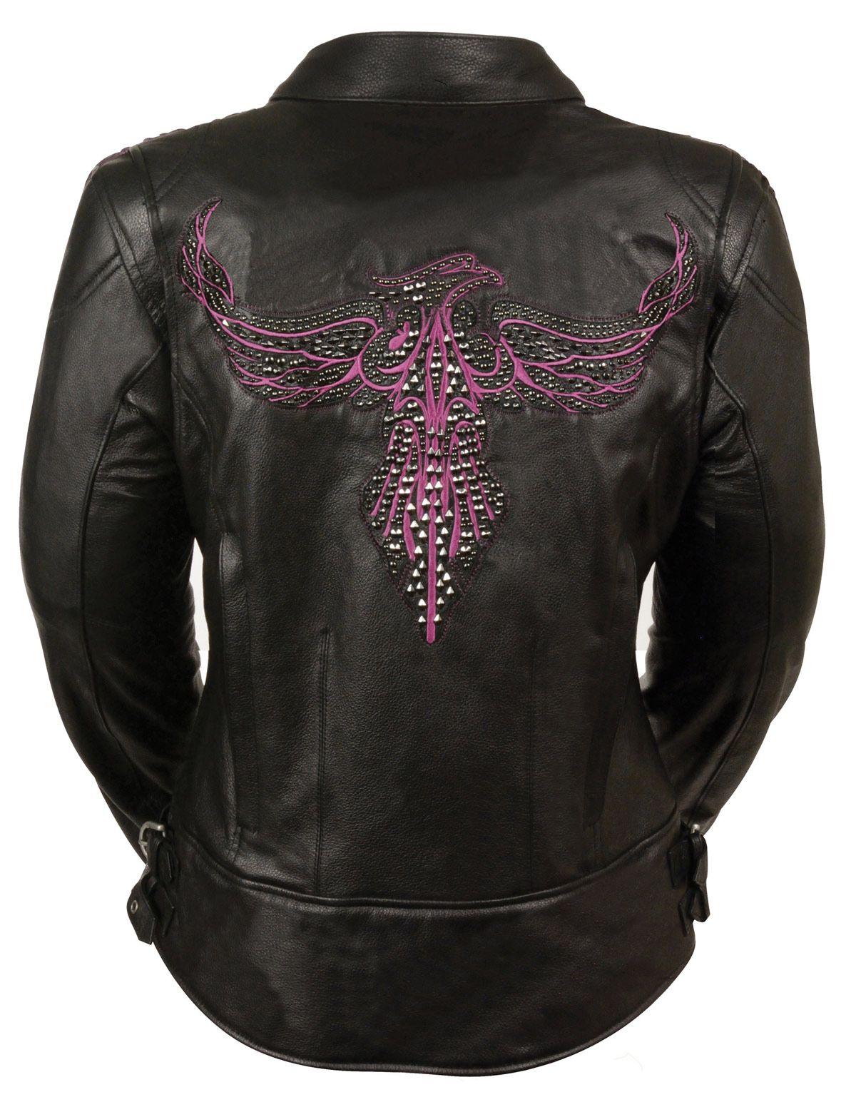 8ae68f20a Ladies Black Leather Biker Jacket w Hot Pink Phoenix Embroidery ...