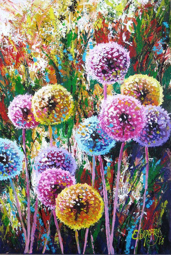 Dandelion art decor. Gift painting decor. Floral wall art ...