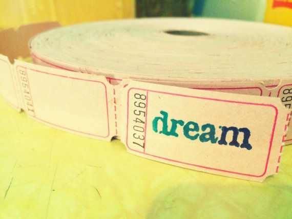 Ten hand stamped dream tickets in pale pink by PeculiarMomma
