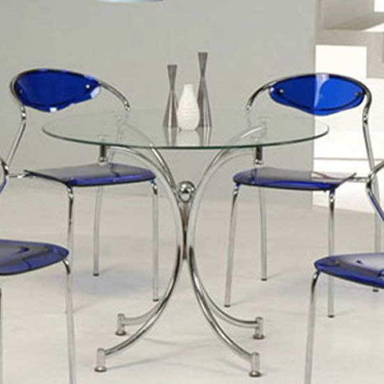 Jenny Round Dining Table In Clear Glass With Chrome Legs Round