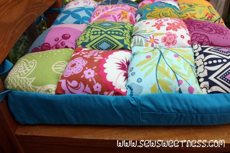 Wool Seat Cushion Patchwork Vintage Cotton Quilted Chair Pad