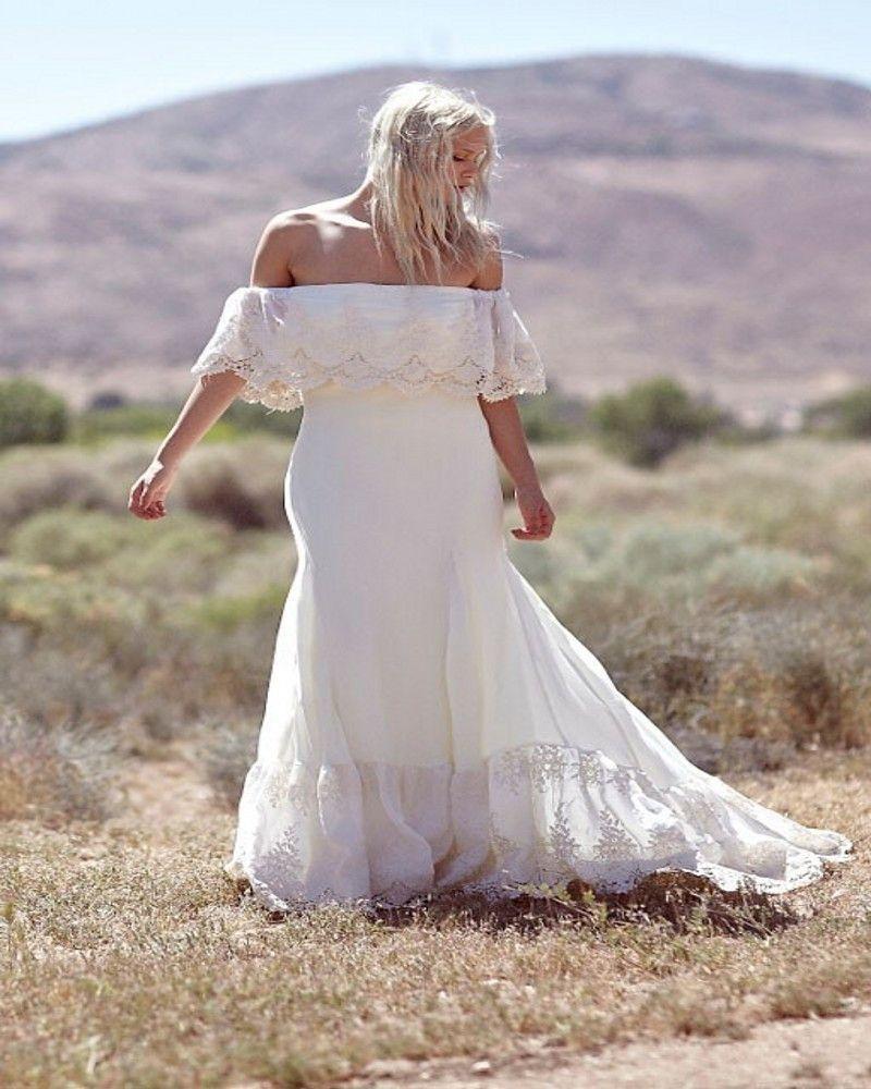 Plus size collection boho off shoulder lace u chiffon wedding