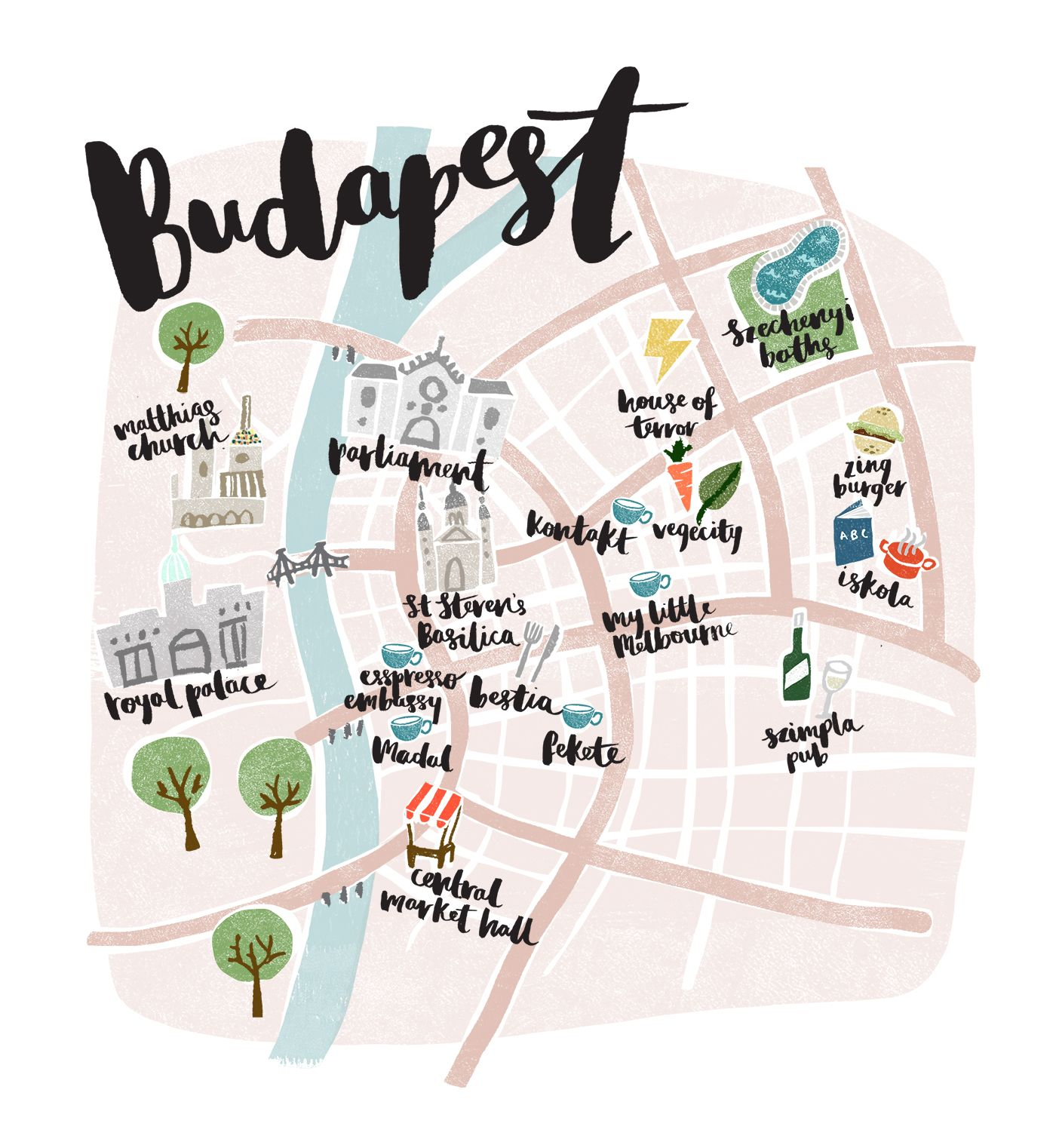 Budapest map design where to head for fun food and for Design apartment 2 budapest