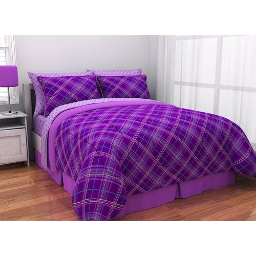 Purple Bed Sets Laude Plaid Complete In A Bag Bedding Set