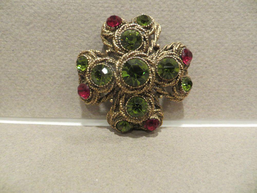 c15231c3c6d Vintage Har moss green & Ruby red stones Maltese cross pin/brooch ...