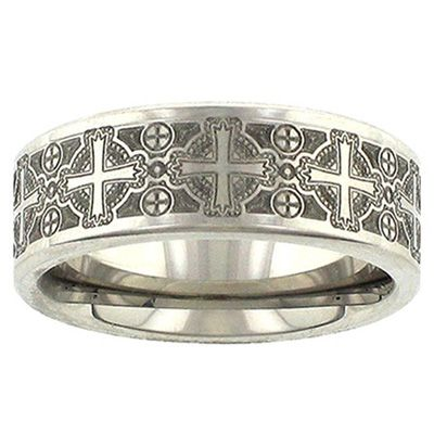 beveled rainbow edges wedding center bands gorgeous grooved triton queenwish tungsten brushed band black