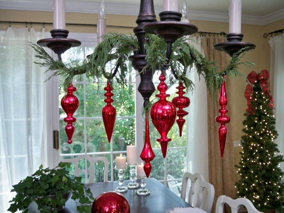 ornaments hung on dining room chandlier craft ideas. Black Bedroom Furniture Sets. Home Design Ideas