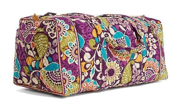 Vera Bradley Xl Duffel Bag Plum Crazy New Nwt Extra Large Verabradley Shoulderbag