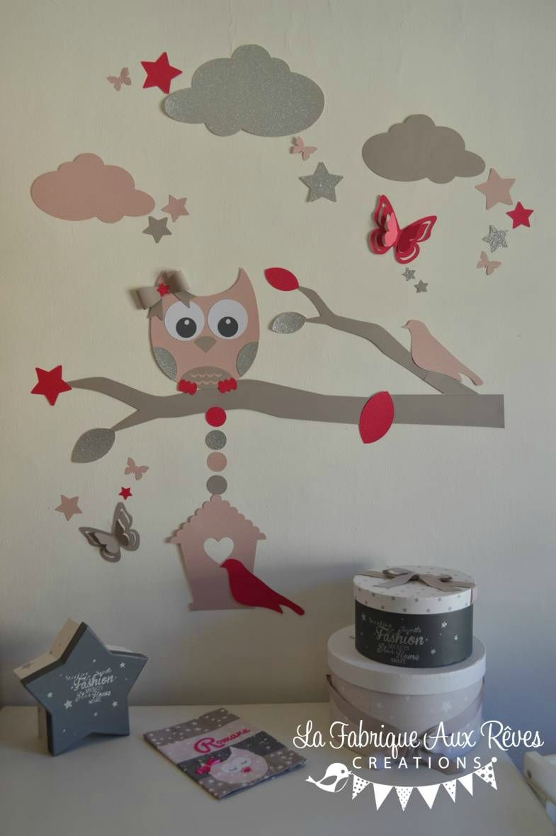 Stickers Hibou Chouette Taupe Fuchsia Rose Poudre Argent Branche