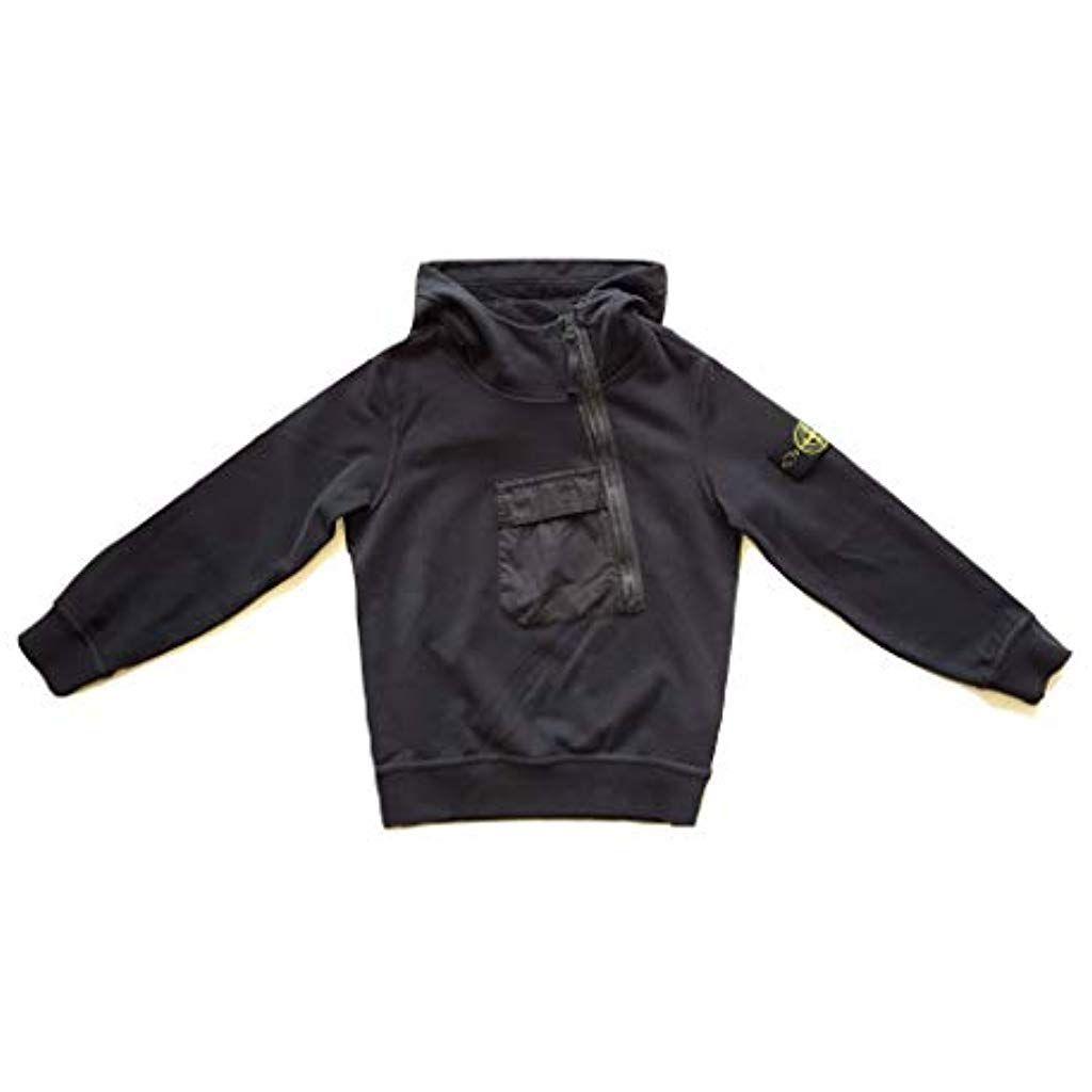 Stone Island Junior Sweatshirt Mit Kapuze Kinder 701660140 V0001 Weiss 701660140 V0029 Schwarz Bekleidung Jungen Sweats Sweatshirt Kapuzenpullover Pullover