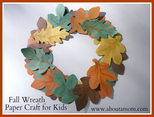 Fall wreath paper craft for kids children church for Where to buy contact paper for crafts