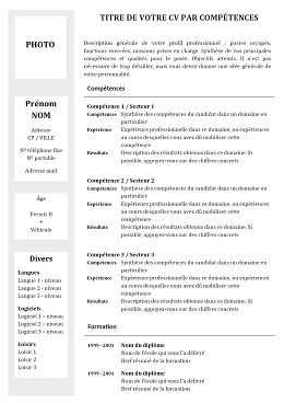 Modele Cv Competences Gratuit Exemple Cv Modele Cv Telecharger Cv