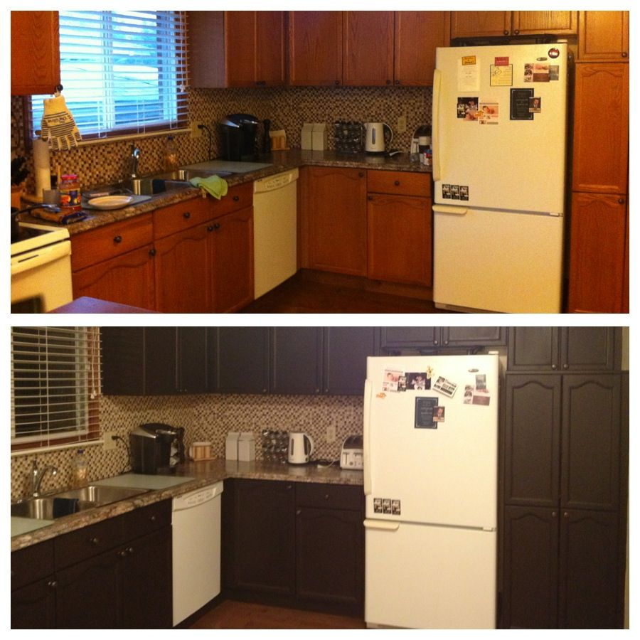 Gel Stain Kitchen Cabinets Espresso: Beautiful Kitchen Transformation! We Stained Our Honey Oak