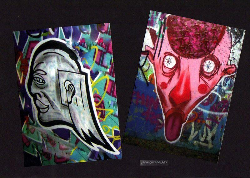 zwei tolle Postkarten für alle Graffiti und streetart fans!  Beide Graffitis habe ich selbst in Berlin fotografiert.  Das Motiv wurde von mir ...