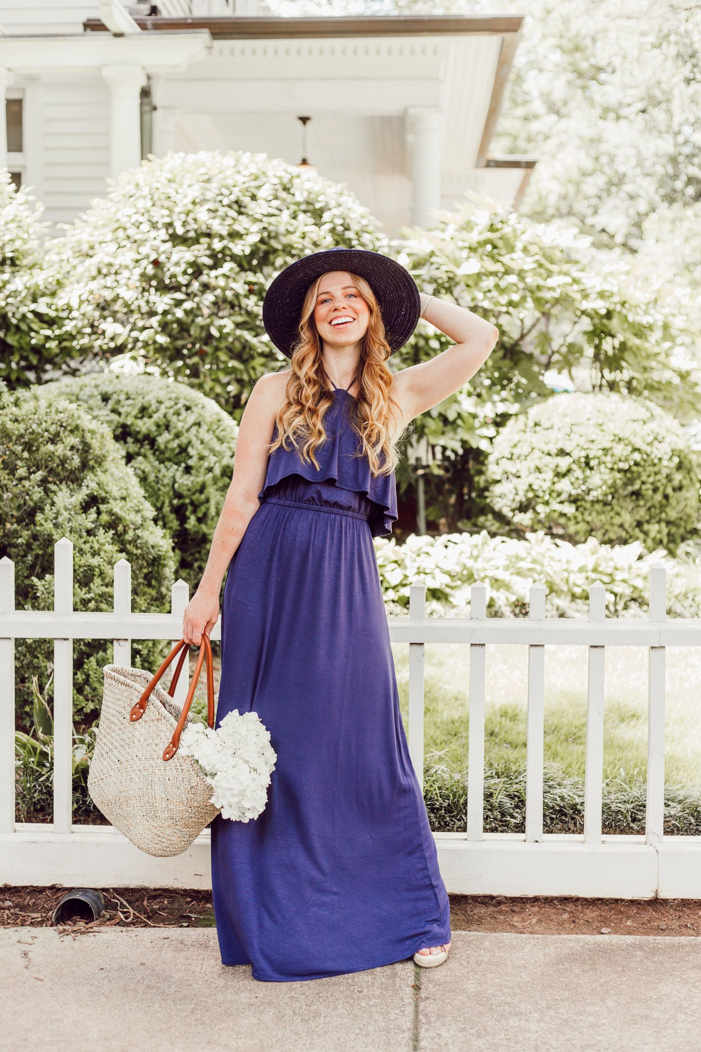 718f97199ba Navy Jersey Maxi Dress featured by popular Charlotte fashion blog