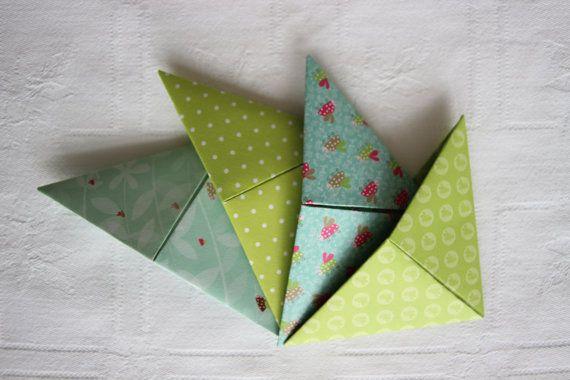 marque page vert 4 papeterie accessoire rose fushia origami papier livre fait main fournitures. Black Bedroom Furniture Sets. Home Design Ideas