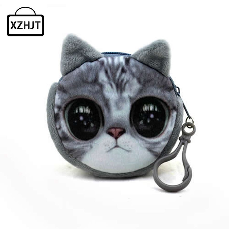 New Cute Cat Face Zipper Case Coin Purse Female Girl Printing Coins Change Child Purse Makeup Bag Clutch Wallet Phone Key Bags#3 Coin Purses & Holders