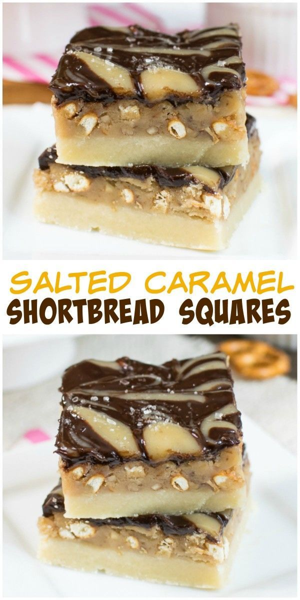 Chocolate, pretzels, and pecans add a fun sweet and salty twist to these caramel shortbread squares.